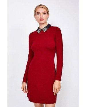 Karen Millen Crystal Collar Knit Dress -, Red