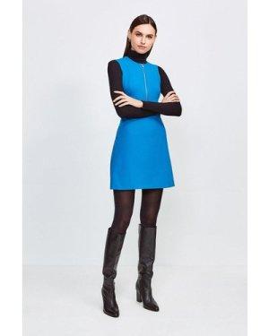 Karen Millen Zip Front Sharp Seam A Line Dress -, Peacock