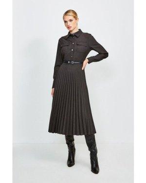 Karen Millen Polished Stretch Wool Blend Shirt Dress -, Charcoal