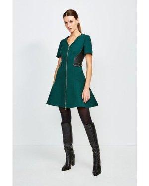 Karen Millen Structured Crepe And Pu Dress -, Green
