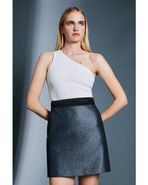 Karen Millen Jacquard Metallic A Line Skirt -, Blue