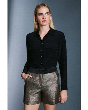 Karen Millen Metallic Jacquard Shorts -, Gold