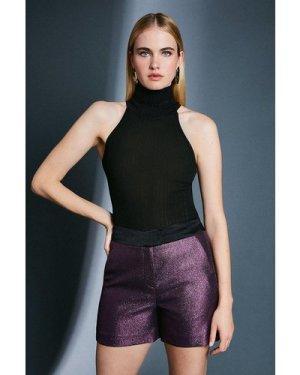 Karen Millen Metallic Jacquard Shorts -, Navy