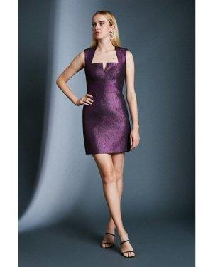 Karen Millen Metallic Jacquard Mini Dress -, Navy