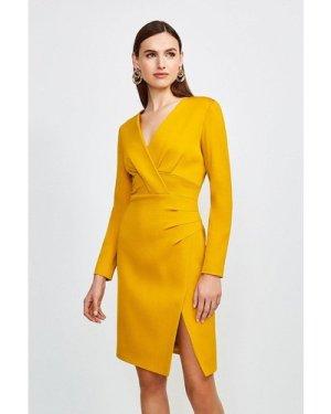 Karen Millen Italian Jersey Long Sleeve Tuck Detail Dress -, Yellow
