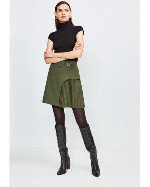 Karen Millen Buckle Detail Pleated Mini Skirt -, Khaki/Green