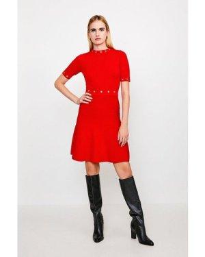 Karen Millen Short Sleeve Eyelet Skater Dress -, Red
