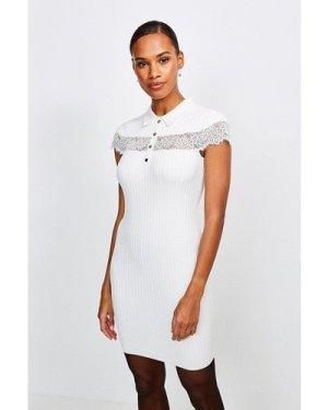 Karen Millen Lace Insert Collared Knit Dress -, Ivory