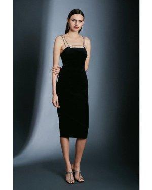 Karen Millen Italian Stretch Velvet Crystal Strap And Bar Dress -, Black