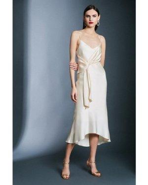Karen Millen Satin Wrap Tie Waist Dress -, Cream