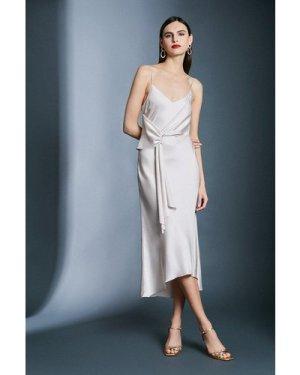 Karen Millen Satin Wrap Tie Waist Dress -, Brown