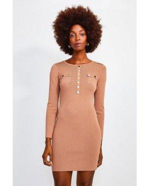 Karen Millen Gold Button Long Sleeve Knitted Dress -, Camel