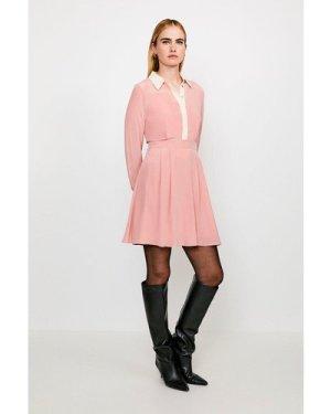 Karen Millen Colour Block Silk Satin Long Sleeve Dress -, Navy