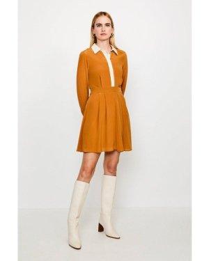 Karen Millen Colour Block Silk Satin Long Sleeve Dress -, Tan