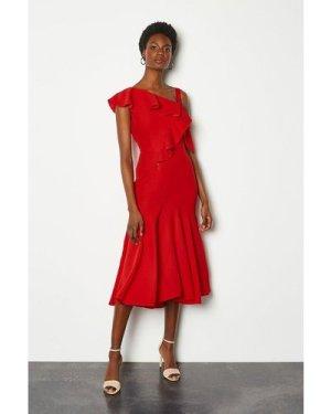 Karen Millen One Shoulder Ruffle Dress -, Red