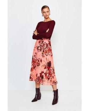 Karen Millen Floral Print Midi Pleated Skirt -, Navy