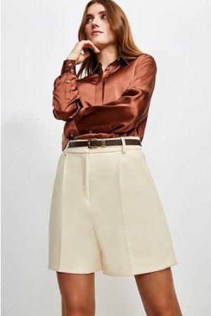 Karen Millen City Stretch Twill Belted Short -, Cream