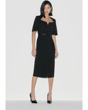 Karen Millen Label Italian Stretch Pencil Dress -, Black