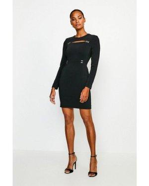 Karen Millen Cutout Long Sleeve Mini Dress -, Black