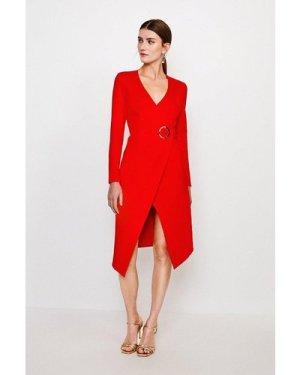 Karen Millen Strong Shoulder Eyelet Ponte Dress -, Red