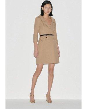 Karen Millen Black Label Italian Stretch Wool Collared Dress -, Camel