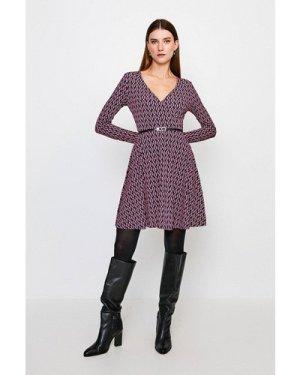 Karen Millen Print Wrap Belted Jersey Dress -, Geo