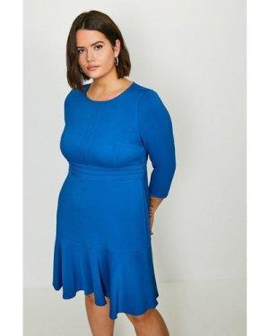 Karen Millen Curve Long Sleeve Ruffle Hem Dress -, Blue