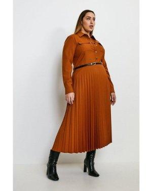 Karen Millen Curve Polished Stretch Wool Blend Shirt Dress -, Tan
