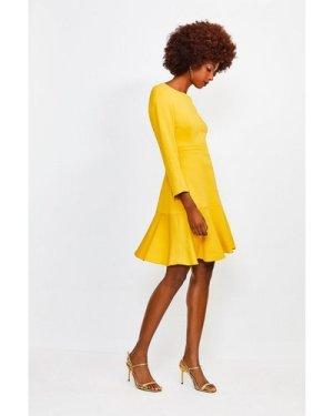 Karen Millen Long Sleeve Ruffle Hem Top Stitch Dress -, Yellow