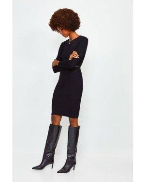 Karen Millen Knitted Rib Dress With Skinny Belt -, Black