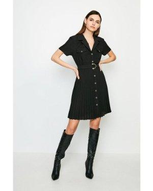 Karen Millen Luxe Utility Pleated Dress -, Black