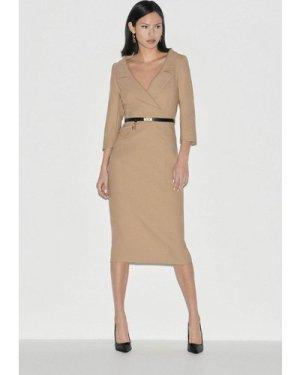 Karen Millen Black Label Italian Stretch Wool Pencil Dress -, Camel