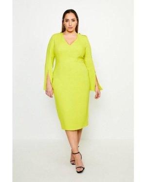 Karen Millen Curve Long Sleeve Deep V Neck Pencil Dress -, Chartreuse