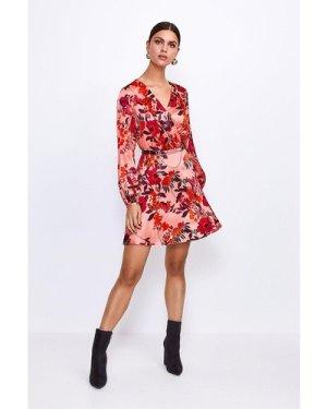 Karen Millen Printed Silk Front Wrap Dress -, Floral