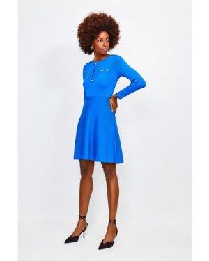 Karen Millen Gold Button A Line Knitted Dress -, Blue