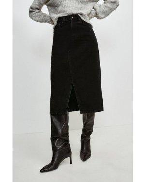 Karen Millen Split Seam Denim Midi Skirt -, Black