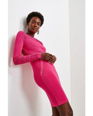 Karen Millen Sheer Stripe Knit Dress -, Navy