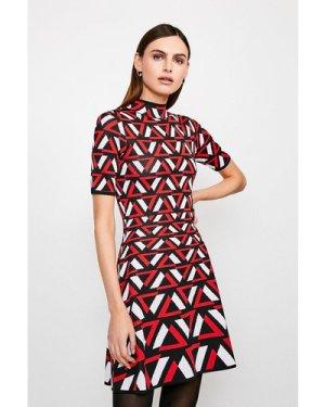 Karen Millen Abstract Knitted Dress -, Red