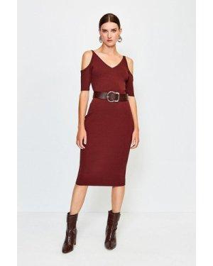 Karen Millen Cold Shoulder Knitted Dress -, Brown