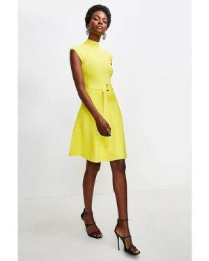 Karen Millen High Neck Knitted Skater Dress -, Yellow