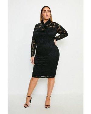 Karen Millen Curve Twist Neck Stretch Lace Jersey Dress -, Black
