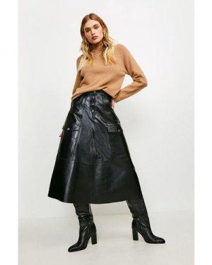 Karen Millen Leather Button Front Pocket Detail Skirt -, Black