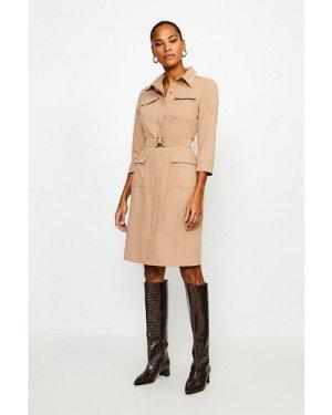 Karen Millen Clean Utility Belted Shirt Dress -, Camel