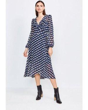 Karen Millen Geo Print Wrap Dress -, Blue