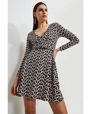 Karen Millen Jersey Belted Wrap Dress -, Geo