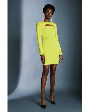Karen Millen Cutout Long Sleeve Mini Dress -, Chartreuse