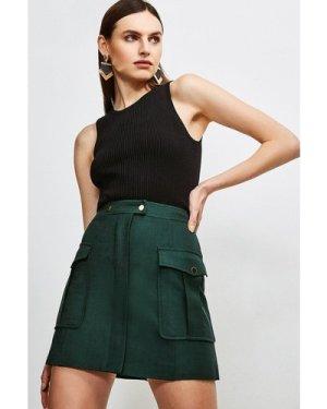 Karen Millen Luxe Stretch Twill Pocket A Line Skirt -, Evergreen