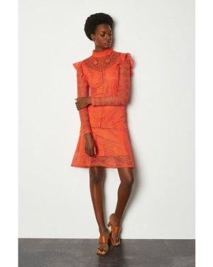 Karen Millen Chemical Lace Ruffle Dress -, Red Orange