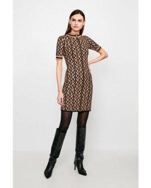 Karen Millen KM Logo Funnel Neck Knitted Dress -, Camel