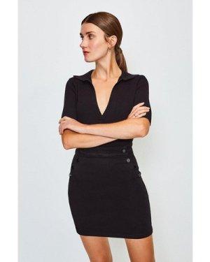 Karen Millen Button Detail Denim Mini Skirt -, Black